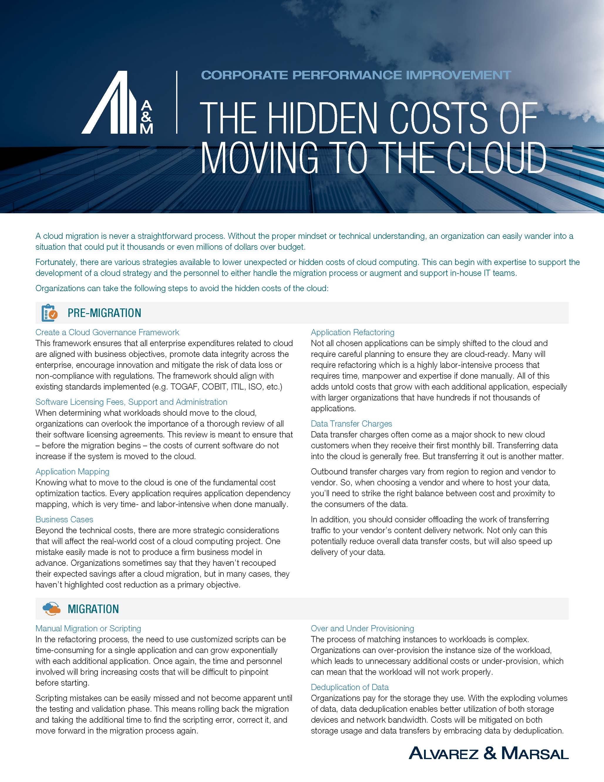 The Hidden Costs of Moving to the Cloud | Corporate Performance Improvement