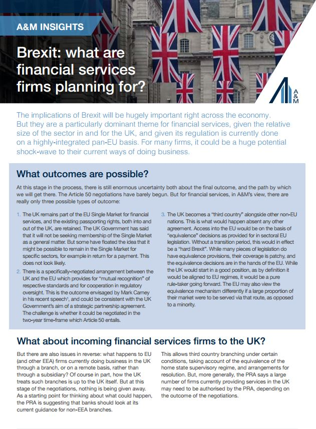 Brexit: What are the financial services firms planning for?